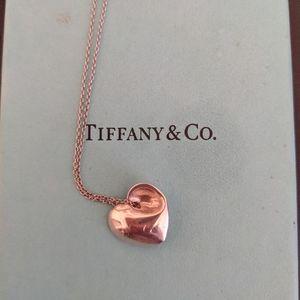 Tiffany & Co Silver Folded Heart Love Necklace